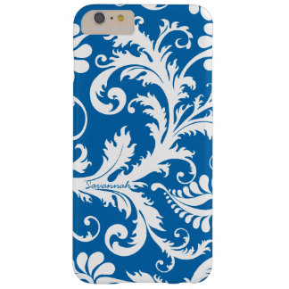 Personalized Vintage Damask change blue any color Barely There iPhone 6 Plus Case