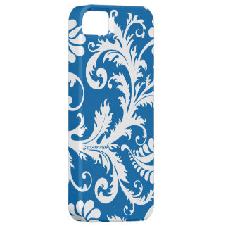 Personalized Vintage Damask change blue any color iPhone 5 Case