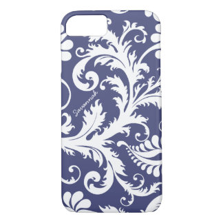 Personalized Vintage Damask change blue any color iPhone 7 Case