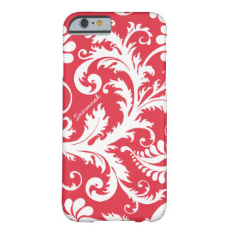 Personalized Vintage Damask change red any color Barely There iPhone 6 Case