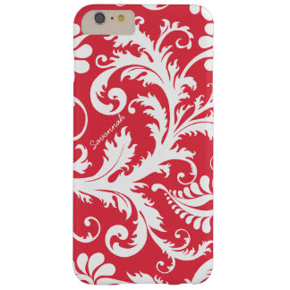 Personalized Vintage Damask change red any color Barely There iPhone 6 Plus Case