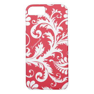 Personalized Vintage Damask change red any color iPhone 7 Case