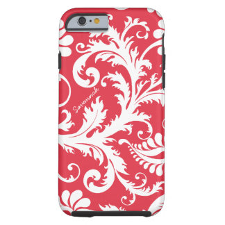 Personalized Vintage Damask change red any color Tough iPhone 6 Case