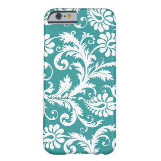 Personalized Vintage Damask change teal any color Barely There iPhone 6 Case