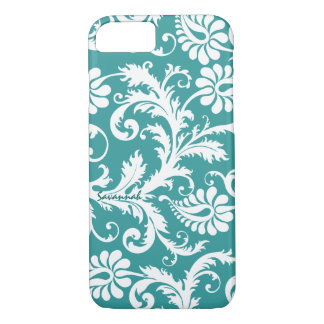 Personalized Vintage Damask change teal any color iPhone 7 Case