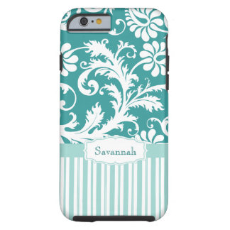 Personalized Vintage Damask change teal any color Tough iPhone 6 Case