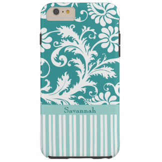 Personalized Vintage Damask change teal any color Tough iPhone 6 Plus Case