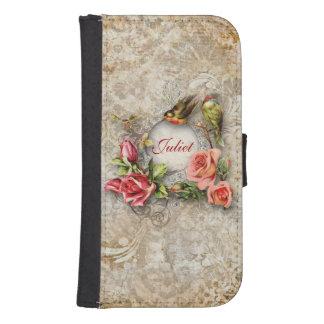 Personalized Vintage Damask Rose Samsung S4 Wallet Case
