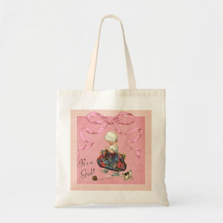 Personalized Vintage Fashion Girl Baby Shower Canvas Bags
