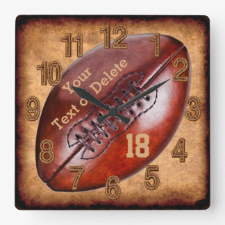 Personalized Vintage Football Decor NAME, NUMBER Square Wall Clock