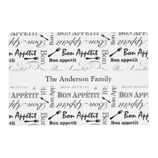 Personalized Vintage French Bon Appetit Gourmet Laminated Placemat