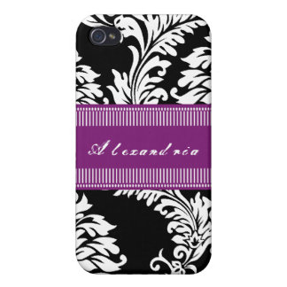 Personalized Vintage Fuchsia Damask iPhone Case iPhone 4 Covers