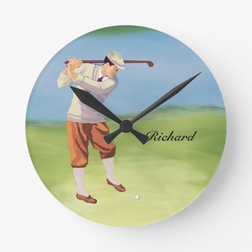 Personalized Vintage Golfer by Riverbank Round Wall Clocks
