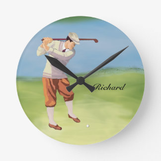 Personalized Vintage Golfer by the Riverbank Round Clock