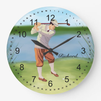 Personalized Vintage Golfer by the Riverbank Wall Clocks
