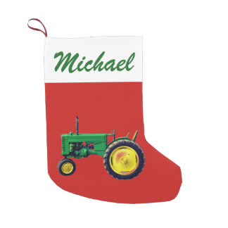 Personalized Vintage Green Tractor on Red