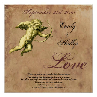 Personalized Vintage Grunge Cupid Love Posters
