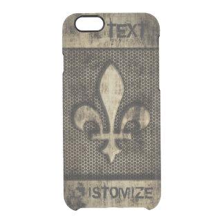 Personalized Vintage Grunge Fleur De Lis Clear iPhone 6/6S Case