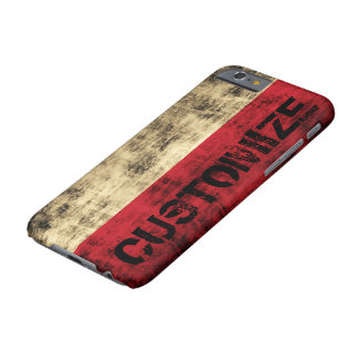 Personalized Vintage Grunge Polish Flag Barely There iPhone 6 Case