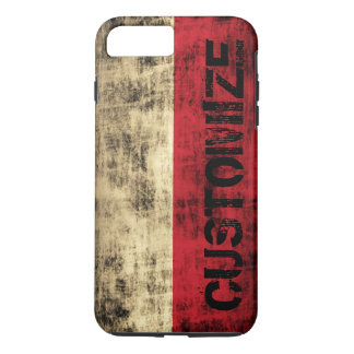 Personalized Vintage Grunge Polish Flag iPhone 7 Plus Case