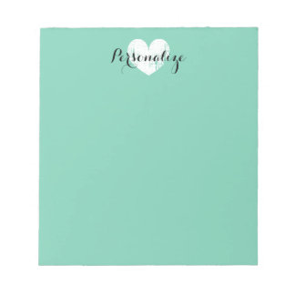 Personalized vintage heart mint green notepad