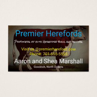Personalized Vintage Hereford Cow Business Card