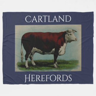 Personalized Vintage Hereford Cow Fleece Blanket