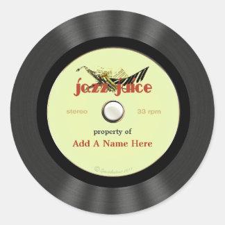 Personalized Vintage Jazz Vinyl Record Round Sticker