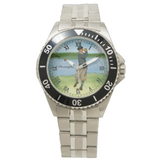 Personalized Vintage look Golfer Golf Watch