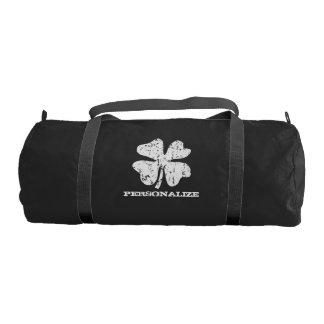 Personalized vintage lucky clover duffle gym bag gym duffel bag