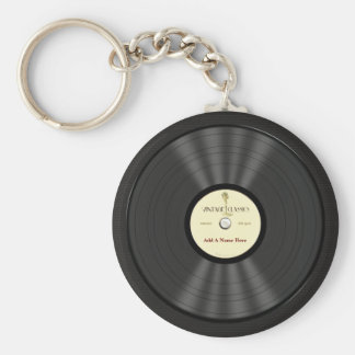 Personalized Vintage Microphone Vinyl Record Basic Round Button Key Ring