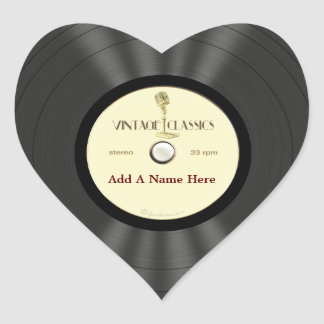 Personalized Vintage Microphone Vinyl Record Heart Sticker