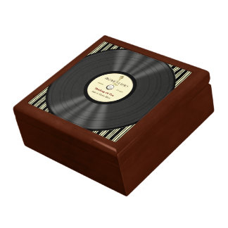 Personalized Vintage Microphone Vinyl Record Large Square Gift Box