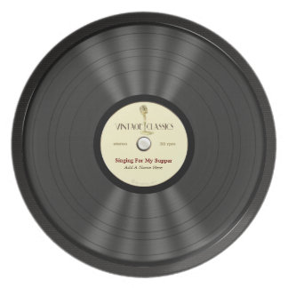 Personalized Vintage Microphone Vinyl Record Party Plate