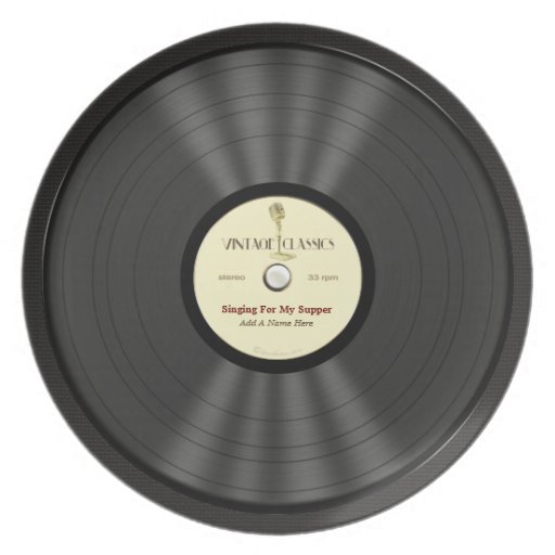 Personalized Vintage Microphone Vinyl Record Dinner Plates