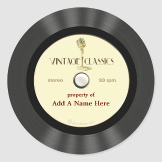 Personalized Vintage Microphone Vinyl Record Round Sticker