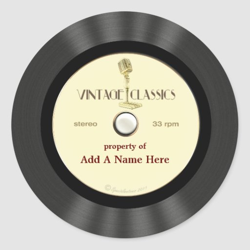 Personalized Vintage Microphone Vinyl Record Round Stickers