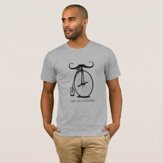 Personalized Vintage Mustache High Wheel Bike Club T-Shirt