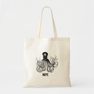 Personalized Vintage Octopus Tote Bag