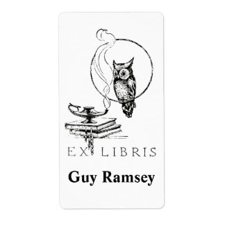 Personalized Vintage Owl Bookplate Shipping Label