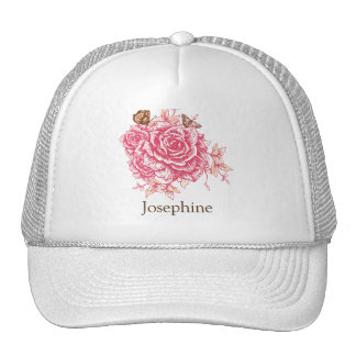 Personalized Vintage Pink Rose Butterfly Floral Cap