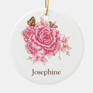 Personalized Vintage Pink Rose Flower Butterf Christmas Ornament