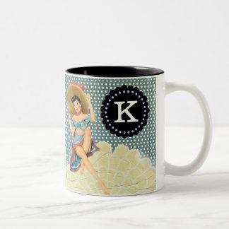 Personalized Vintage Pinup Girl In Sun Hat Two-Tone Coffee Mug