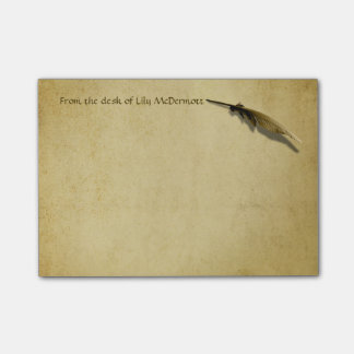 Personalized Vintage Quill Pen and Aged Paper Post-it® Notes