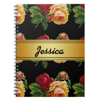 Personalized Vintage Rustic Floral Notebook