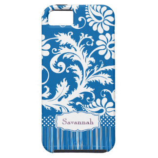 Personalized Vintage Sea Blue Damask and Stripe iPhone 5 Cover