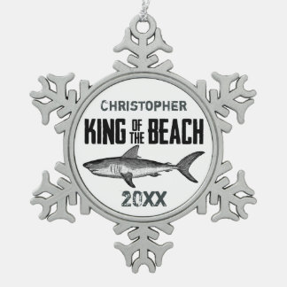Personalized Vintage Shark Beach King Holiday Snowflake Pewter Christmas Ornament