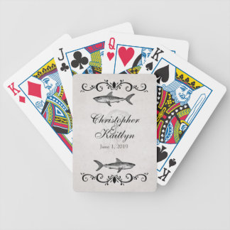 Personalized Vintage Shark Jellyfish Wedding Poker Deck