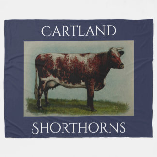 Personalized Vintage Shorthorn Cow Fleece Blanket