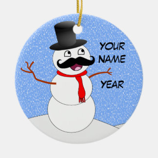 Personalized Vintage Snowman With Mustache Christmas Ornament